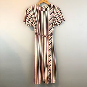 Vintage British Lady Micro Terry Striped Dress 70s